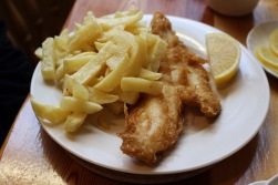Lightly battered haddock and chips