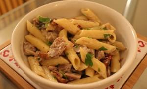 Turkey bacon mushroom pasta